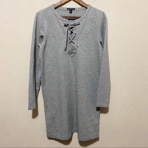 J. Crew Lace Up Gray Lounge Dress Size Medium